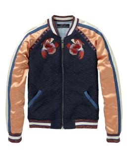 maison-scotch-coral-and-navy-silky-bomber-jacket